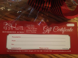 A gift certificate is a great Christmas or birthday gift.